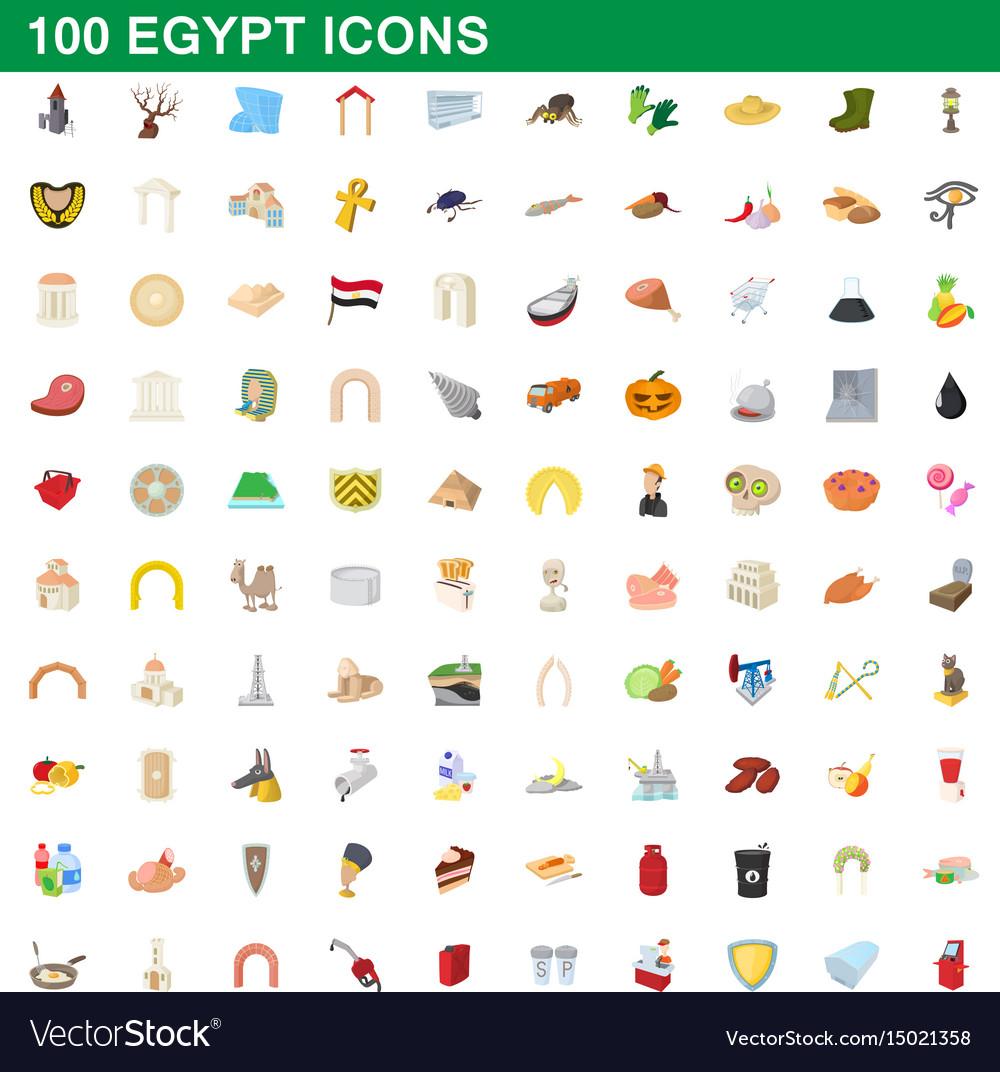 100 egypt icons set cartoon style