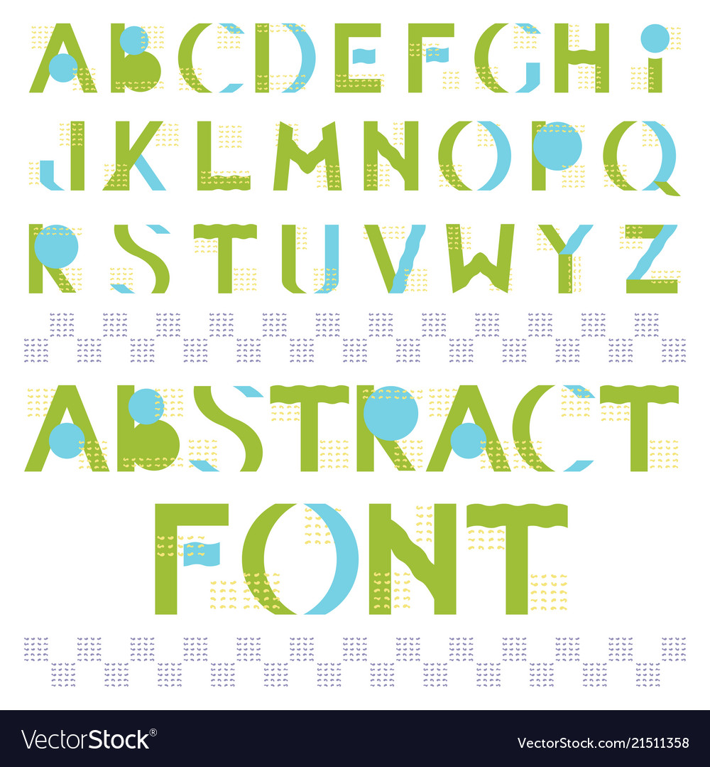 Abstract colorful geometric font in memphis style