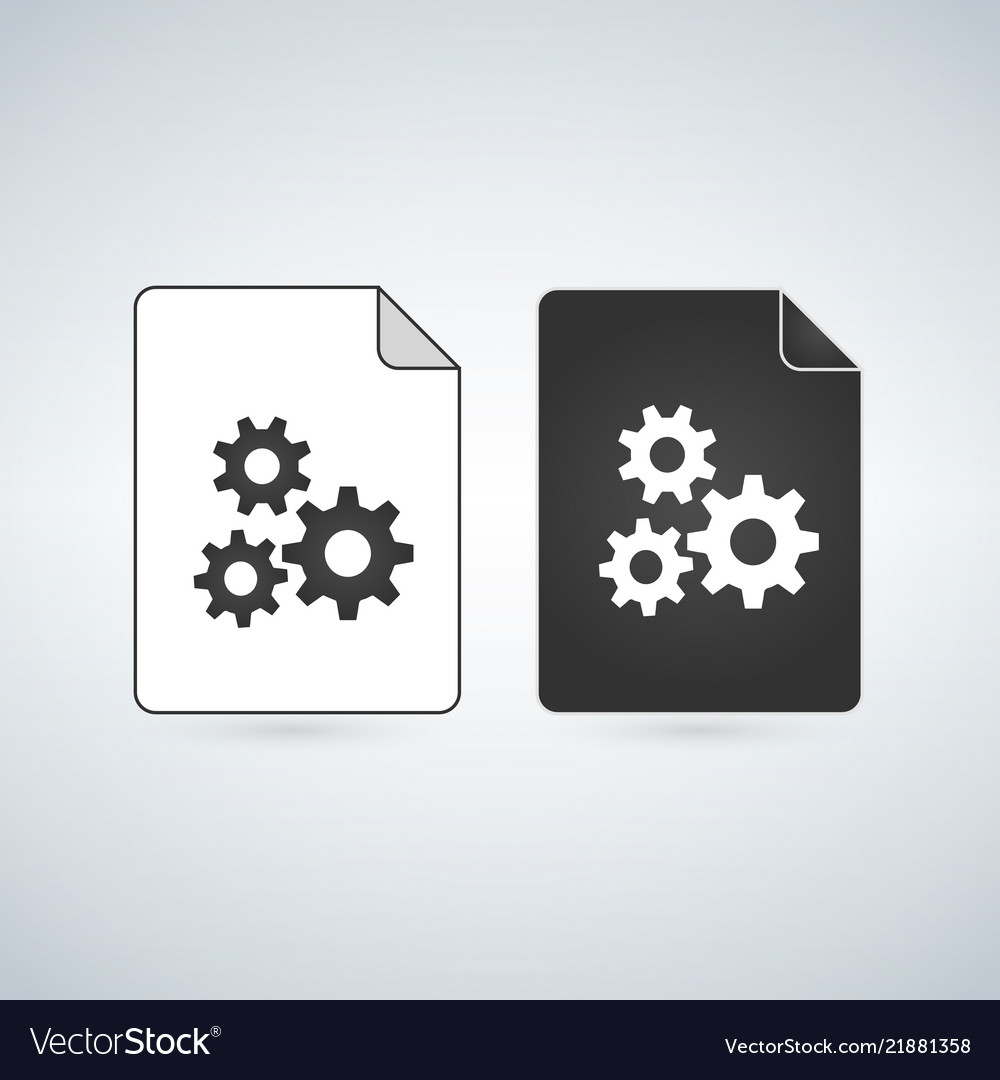 Black and white settings gears file icon isolated