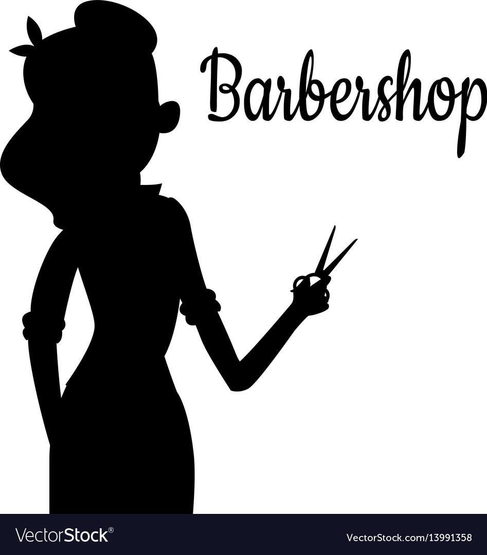 Black girl silhouette of hairdresser vector image