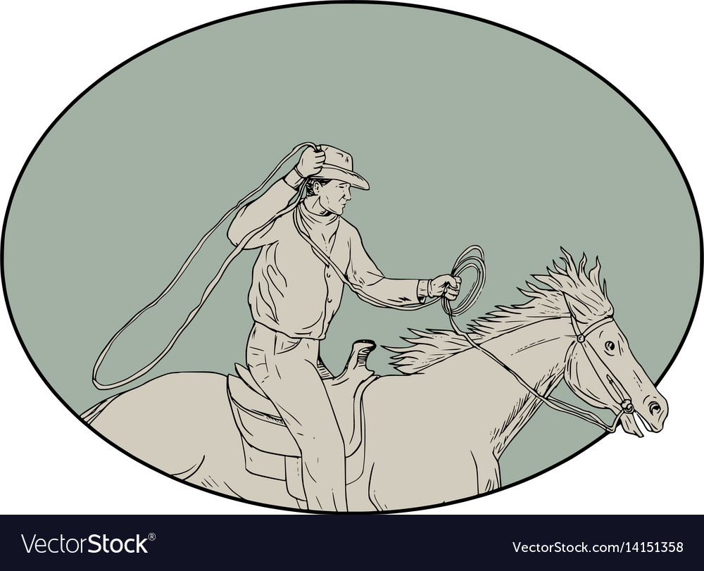 Cowboy riding horse lasso oval drawing vector image