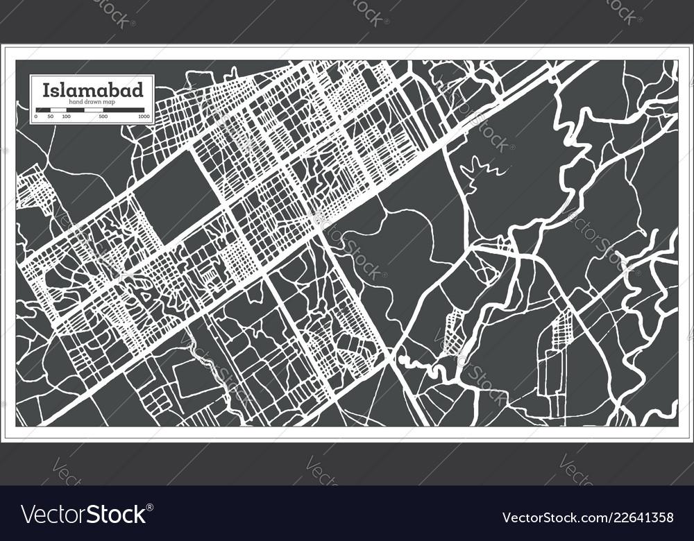 Islamabad pakistan city map in retro style