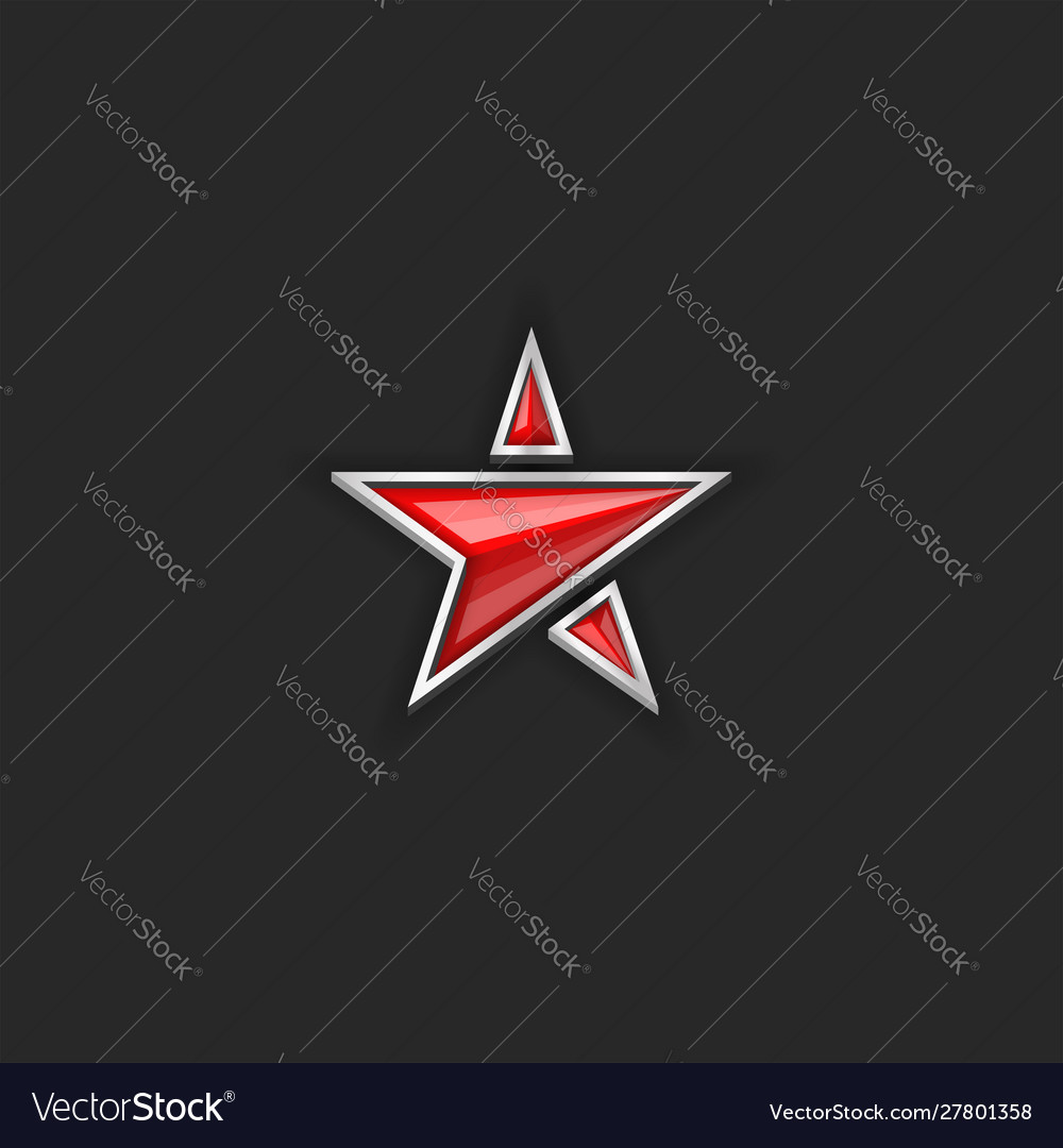 Logo red star plastic or glass five-pointed shape
