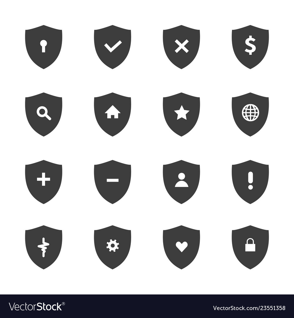 Protection shields icon set vector