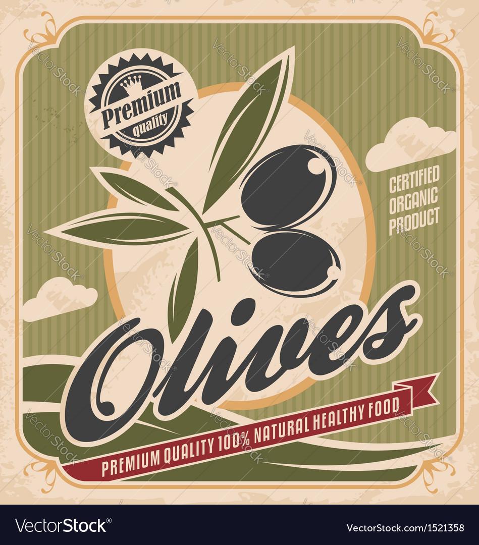 Retro olive poster design