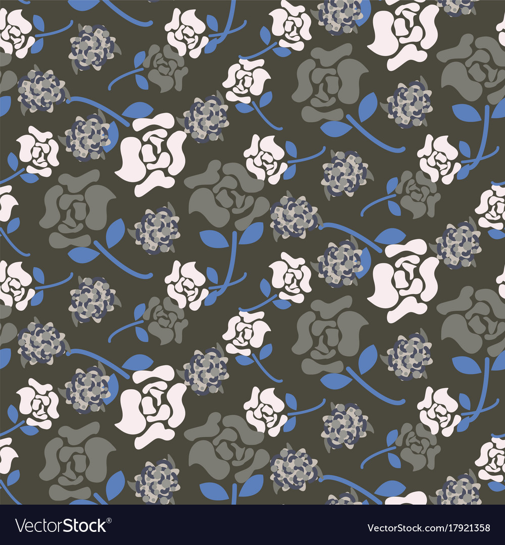 Rose flowers grey and blue floral dark pattern