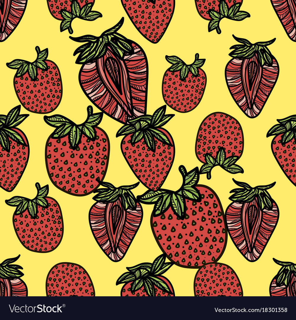 Seamless pattern with pink strawberries vector image