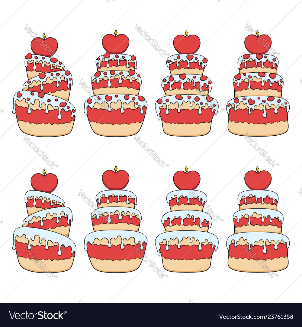 Set color with red and white cake