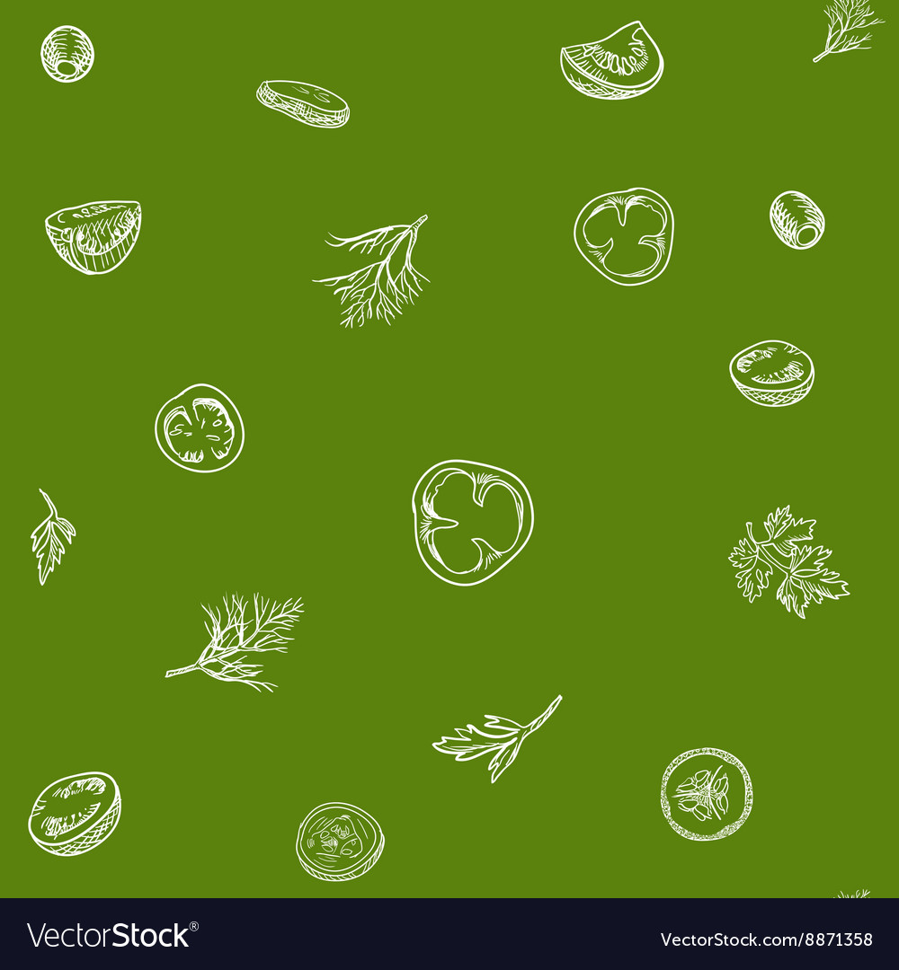Veggie seamless pattern with vegetables vector image