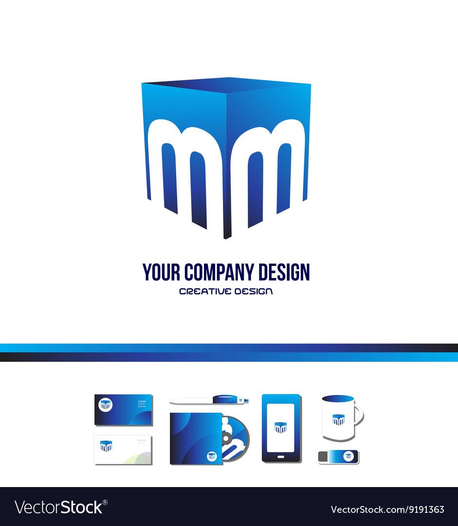Alphabet letter M cube blue logo icon 3d