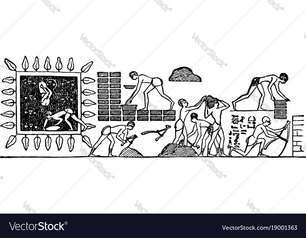 Brick baking is an of an egyptian hieroglyphic