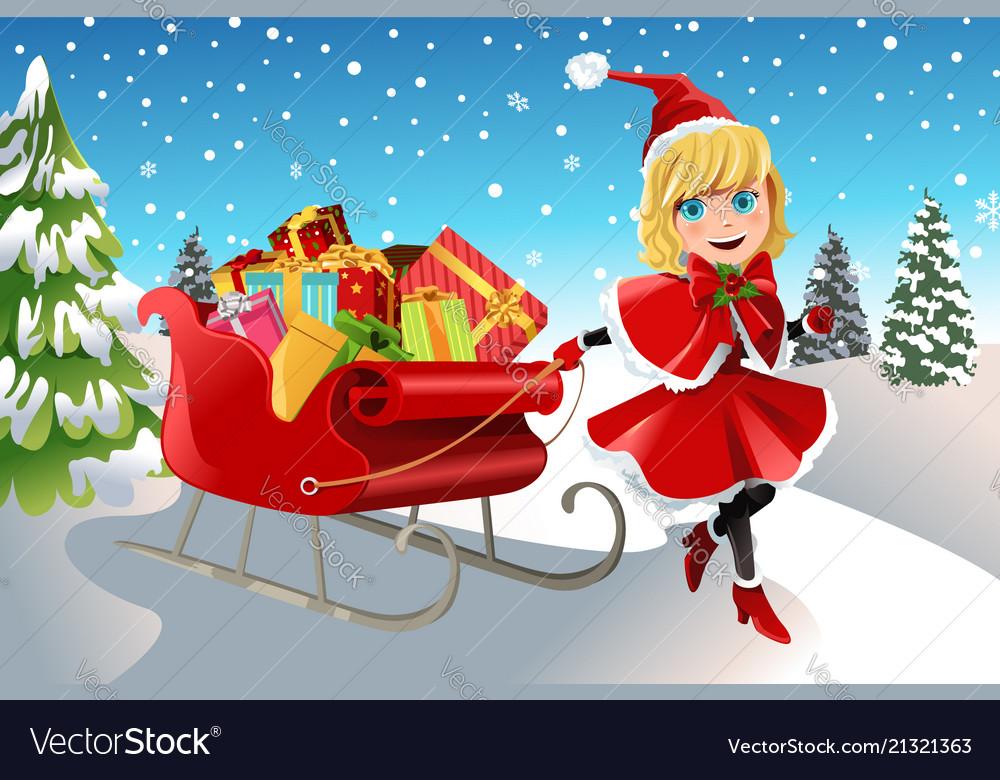 christmas girl pulling sleigh royalty free vector image