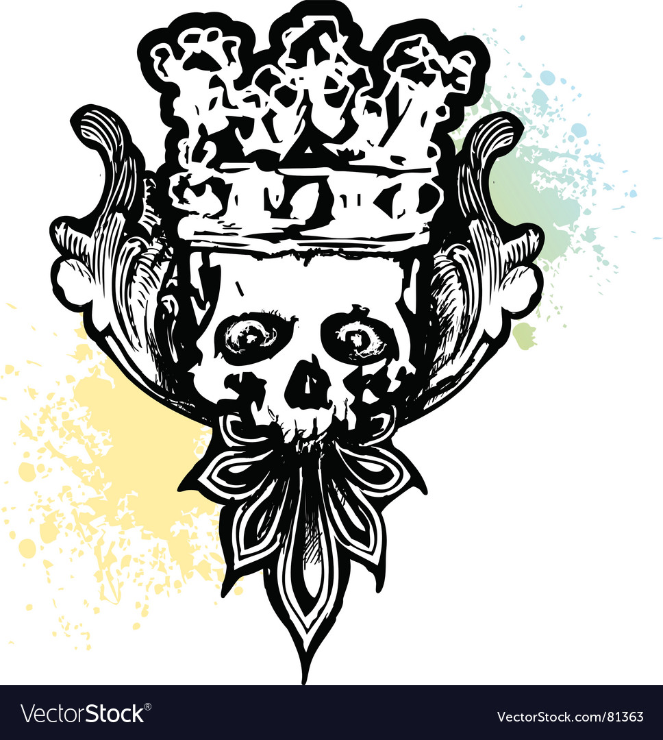 Crowned wicked skull vector image