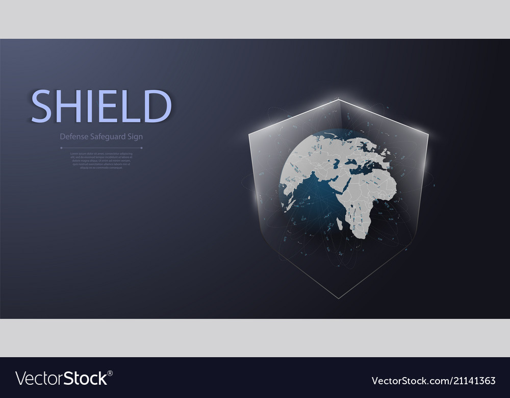 Earth and shield iconprotected guard shield
