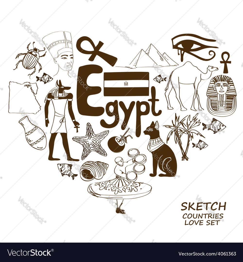 Egyptian Symbols In Heart Shape Concept Royalty Free Vector