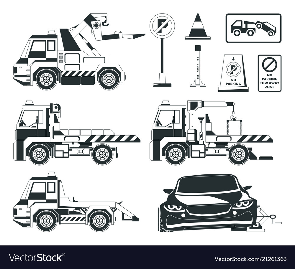 Evacuator cars monochrome pictures isolated
