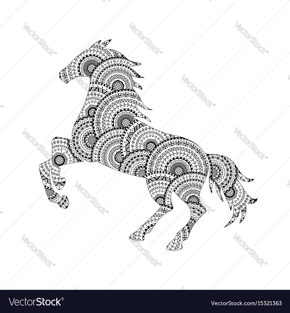 Horse silhouette from mandala coloring page