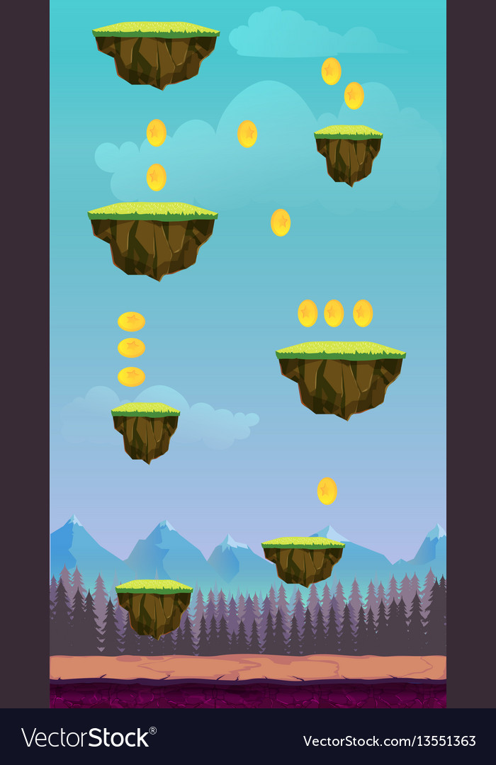 Jump game user interface design for tablet vector image