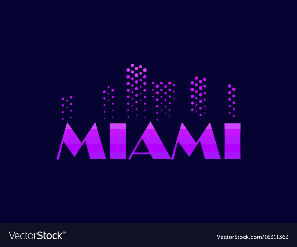 Miami emblem in the style of the 80s points