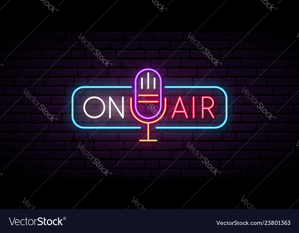 On air neon sign retro microphone in frame