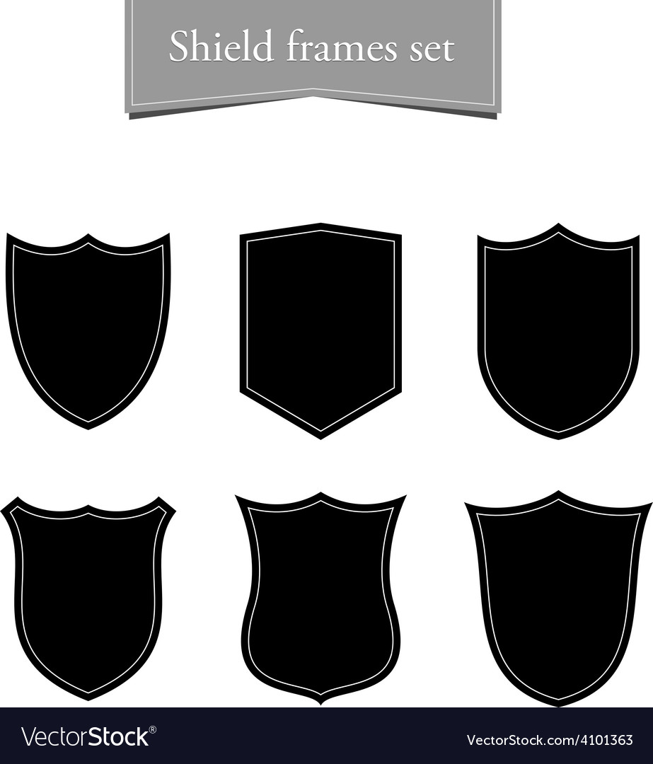 Shield logo backgrounds set Black frame Royalty Free Vector