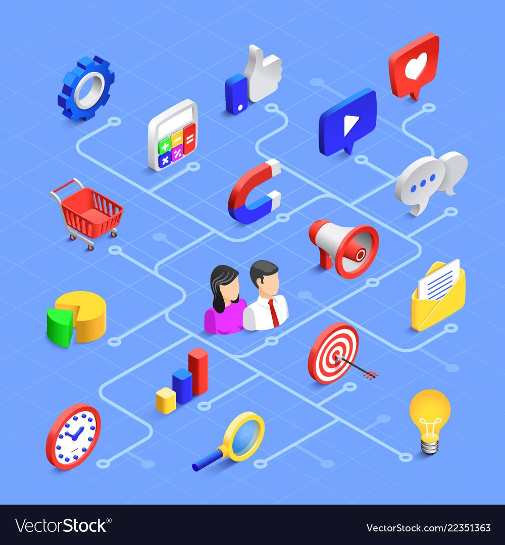 Social media isometric icons digital marketing