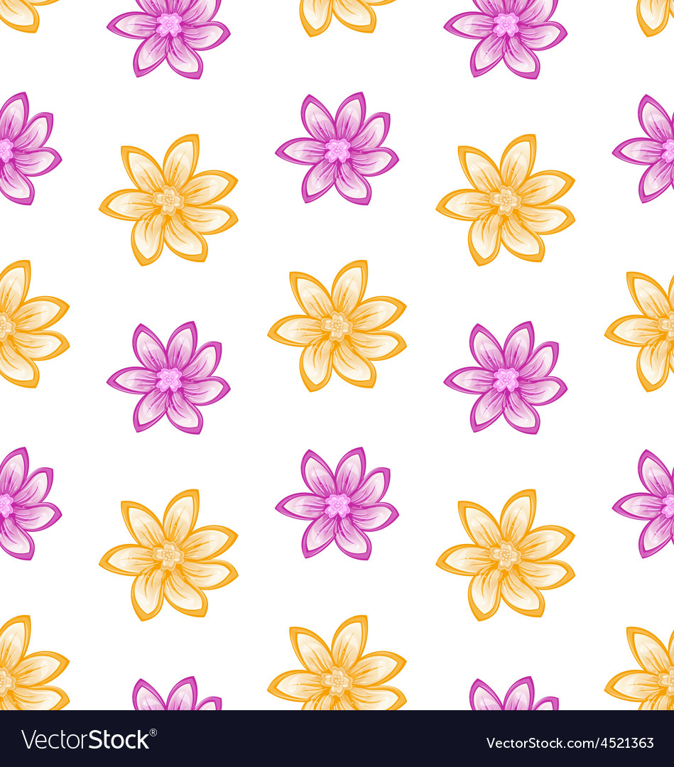 Summer Seamless Pattern with Colorful Flowers