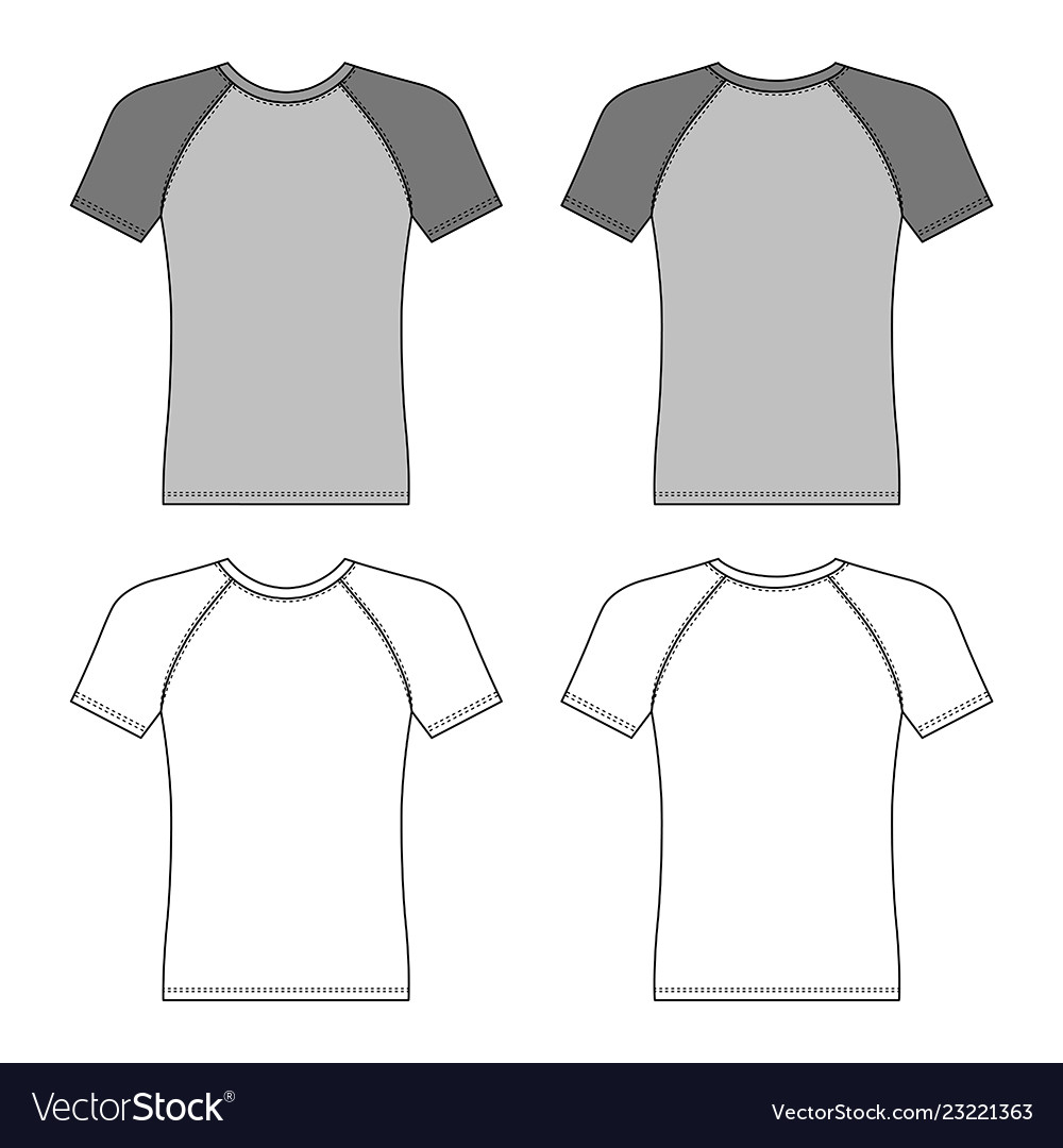 T Shirt Man Template Front Back Views Vector Image