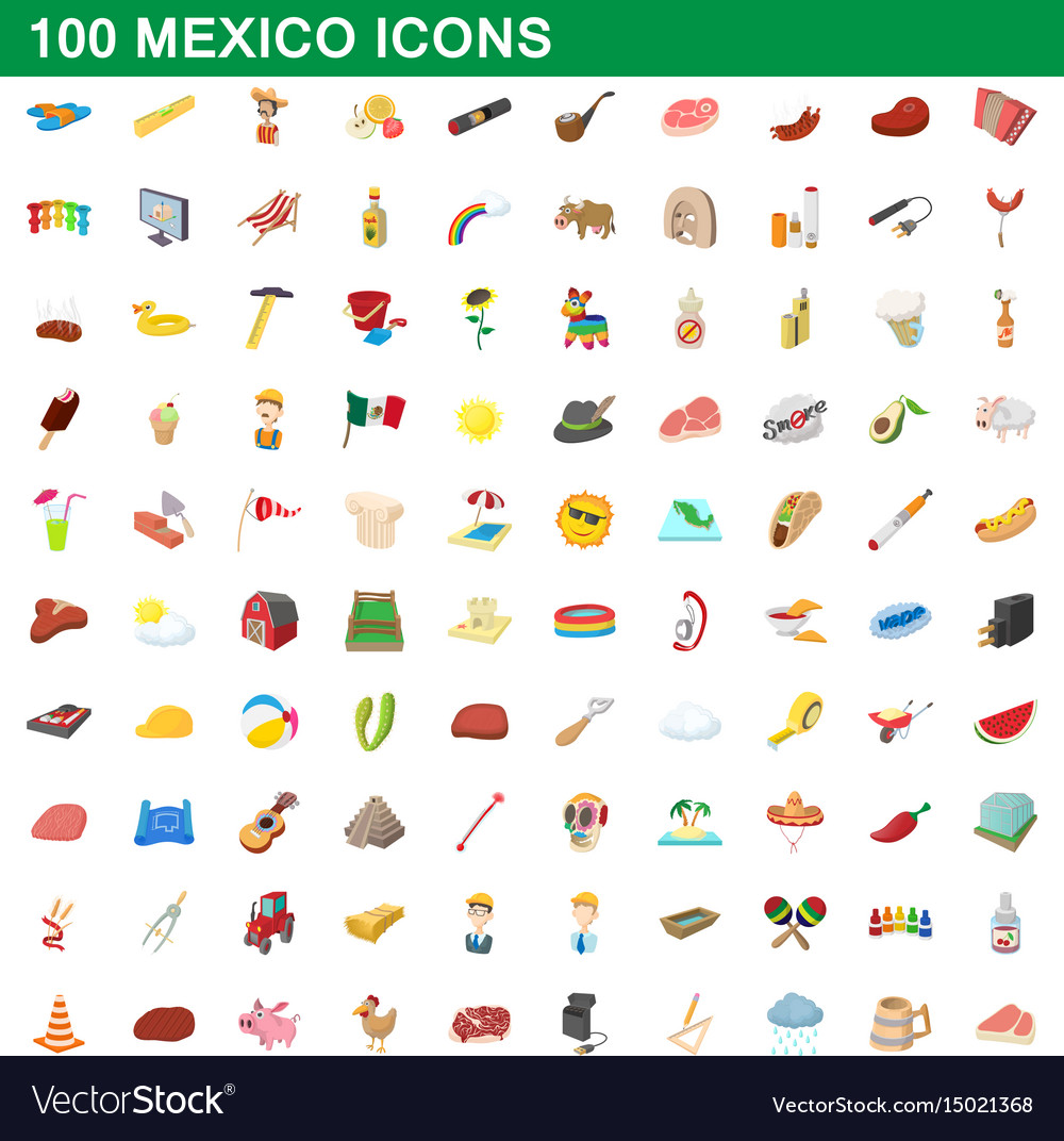 100 mexico icons set cartoon style
