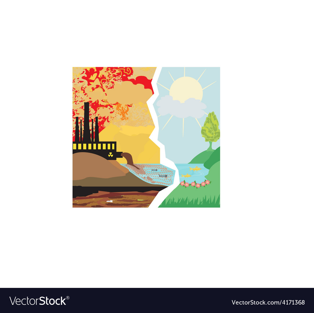 Air polluting factory chimneys vector image