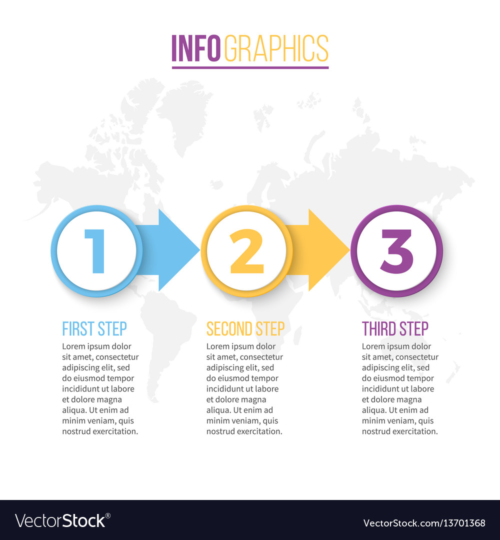 Business infographics presentation with 3 steps