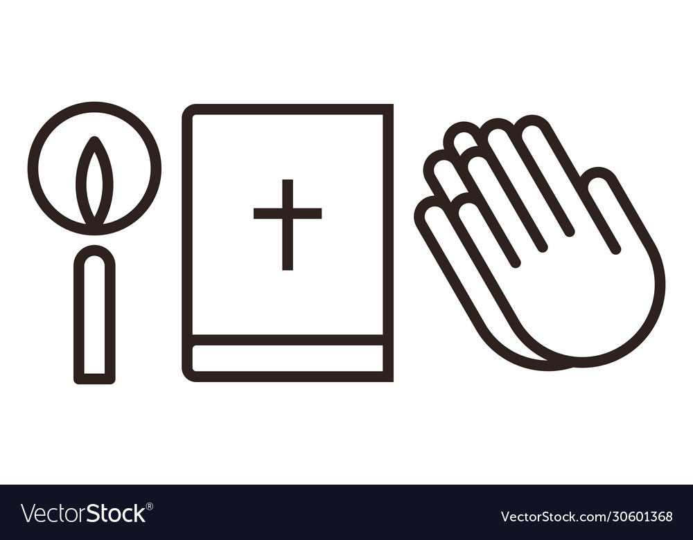 Candle bible and praying hands icon