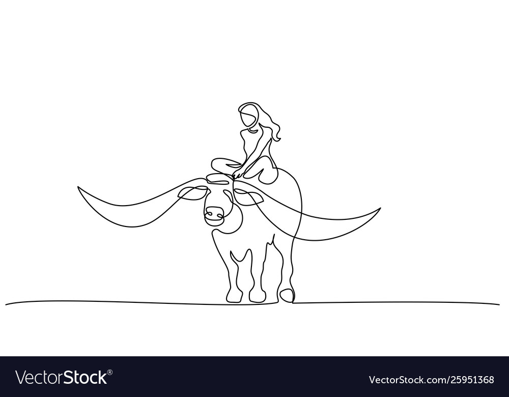 Continuous one line drawing buffalo icon