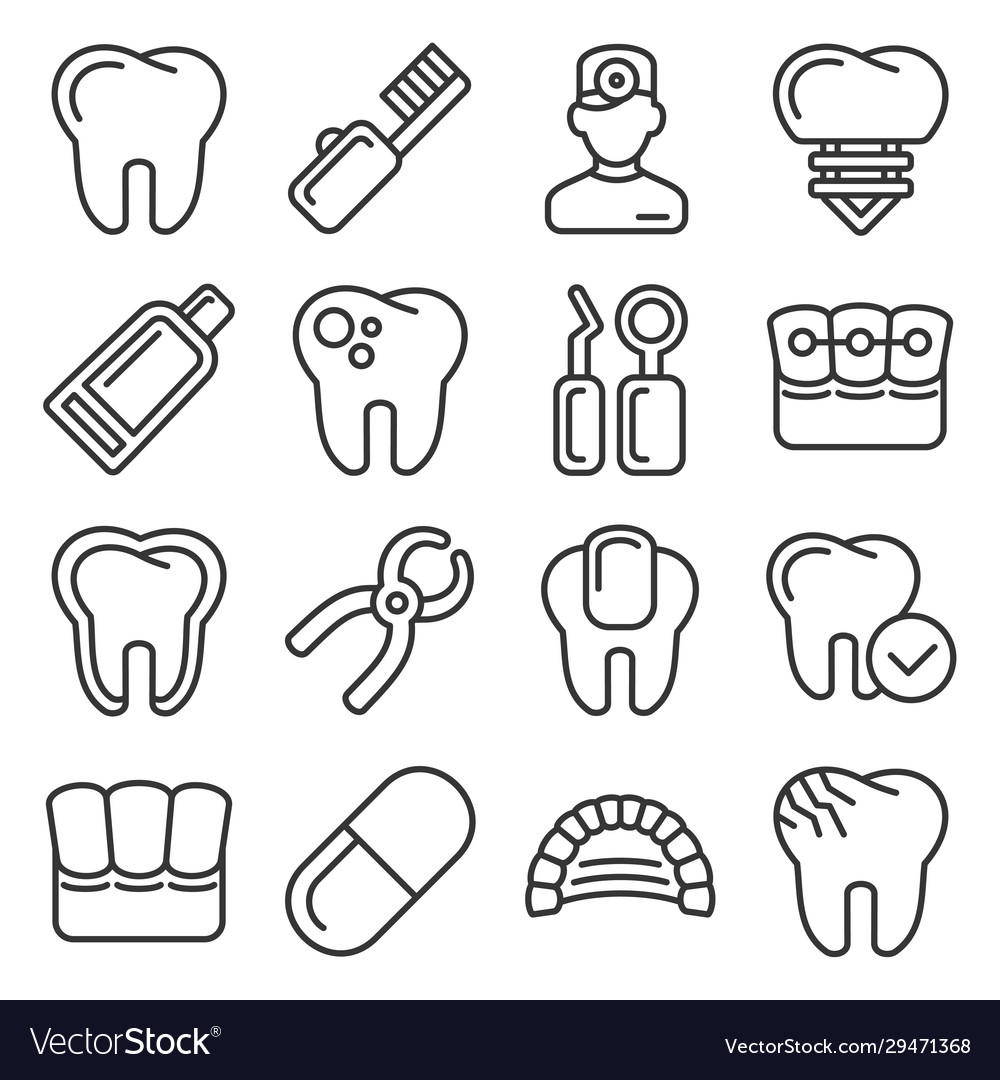 Dental icons set on white background line style