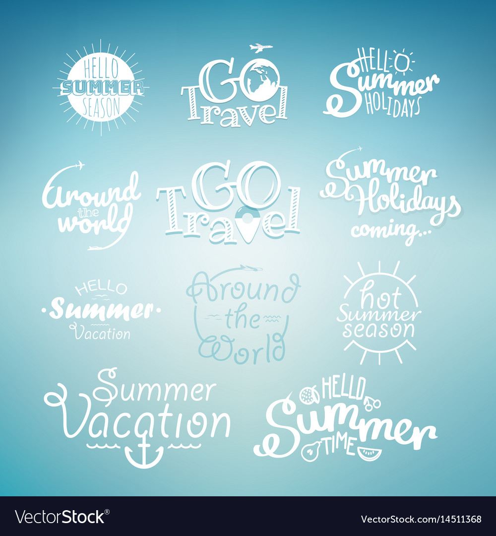Different summer travel lettering many logo on