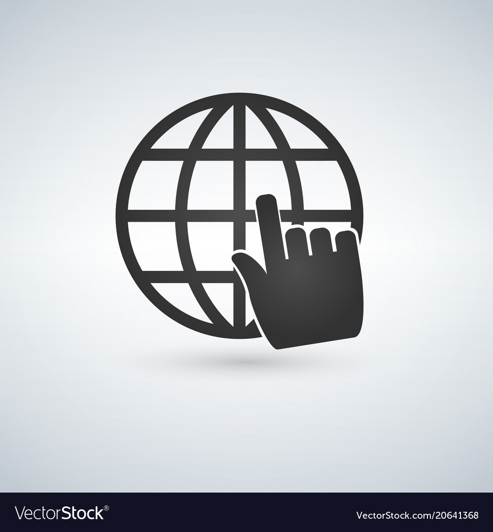 Earth globe with hand cursor isolated on white