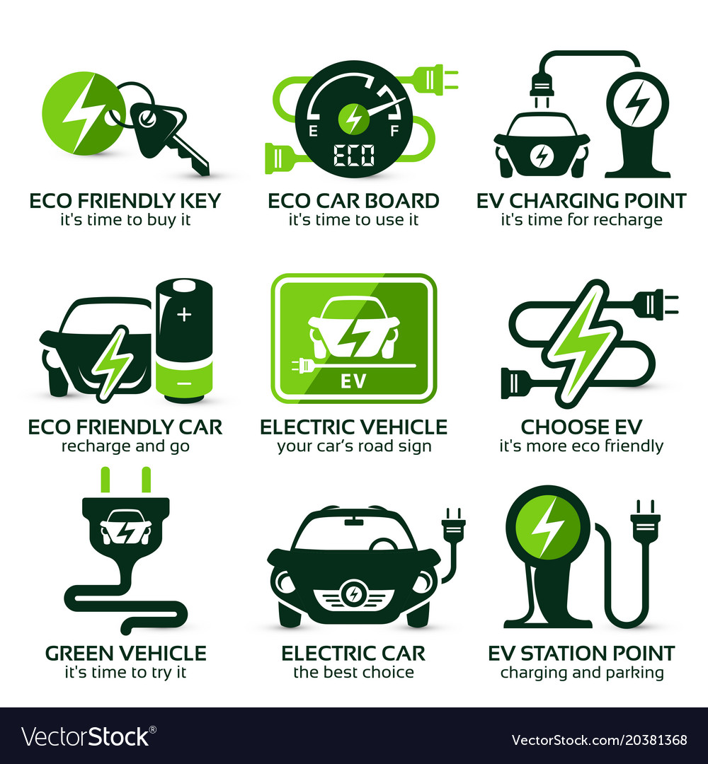 Flat Icon Set For Green Eco Electric Car Vector Image