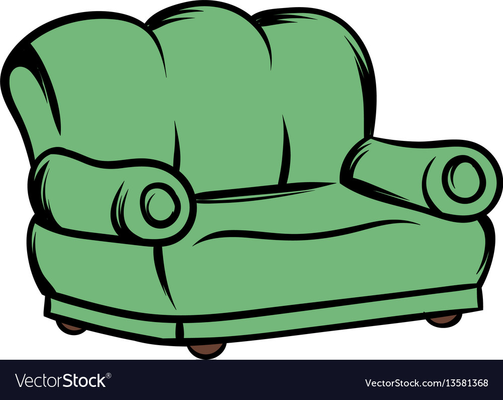 Green sofa icon cartoon