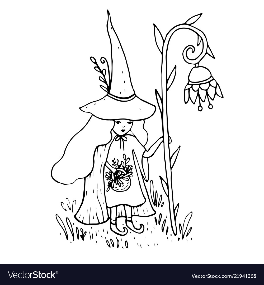 Little sorceress with a staff in form a