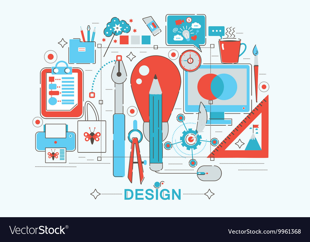 Modern graphic flat line design style infographics vector image