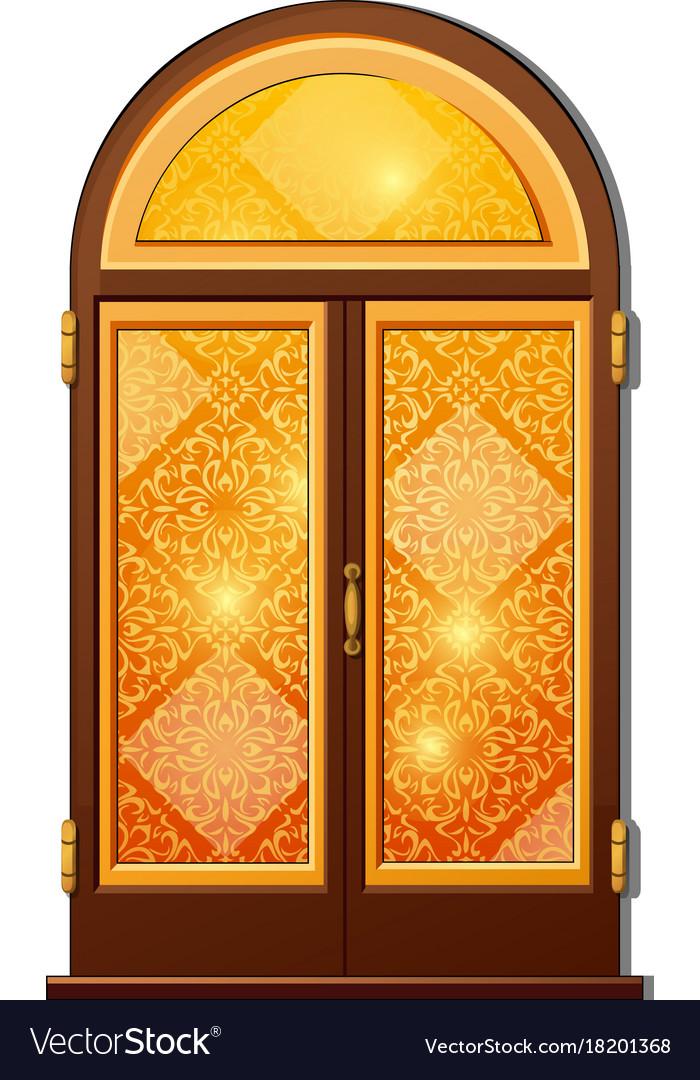 Orange door with oriental ornament vector image & Orange door with oriental ornament Royalty Free Vector Image