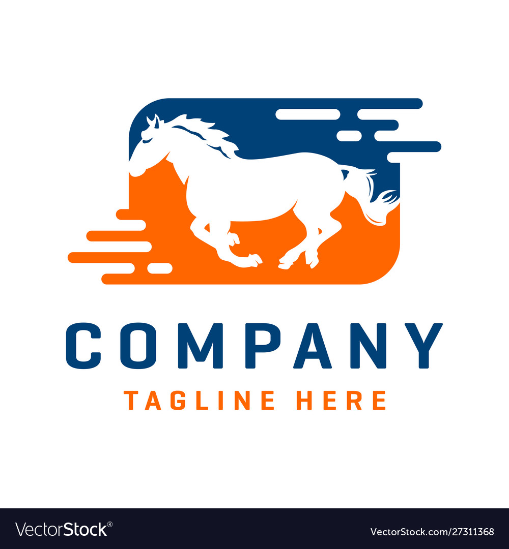 Running Horse Logo Design Template Royalty Free Vector Image