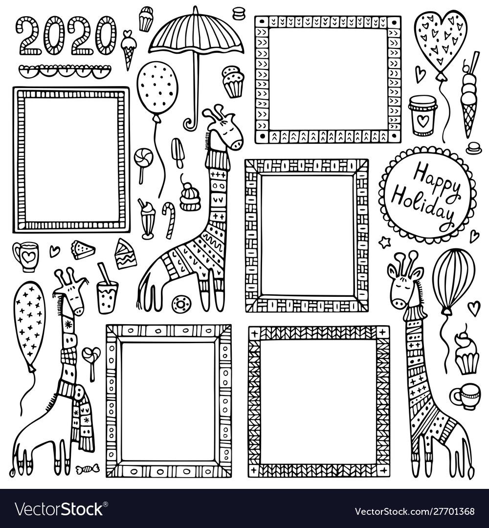 Set black doodle frames and giraffes
