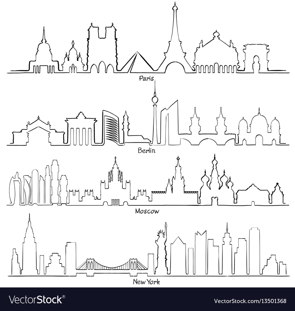 Set of cities silhouette paris berlin moscow