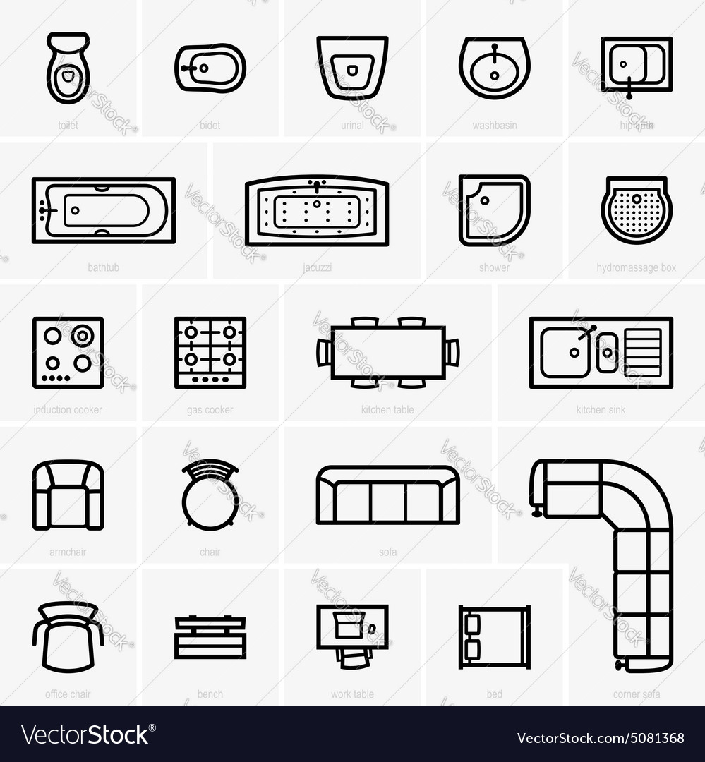 Top View Furniture Icons Royalty Free Vector Image