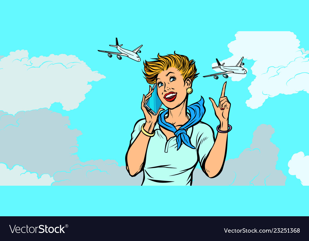 Woman stewardess with phone sky and planes