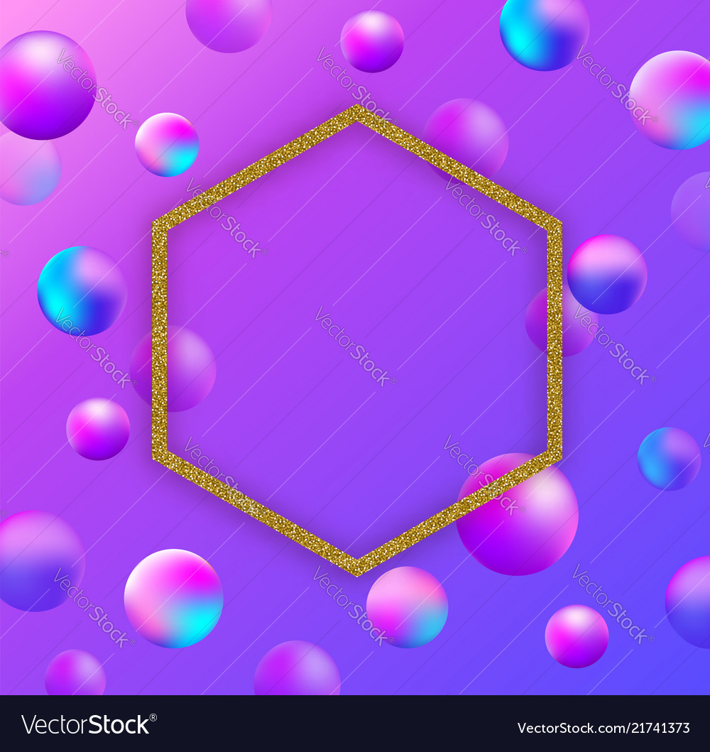 Abstract background with balls and golden frame