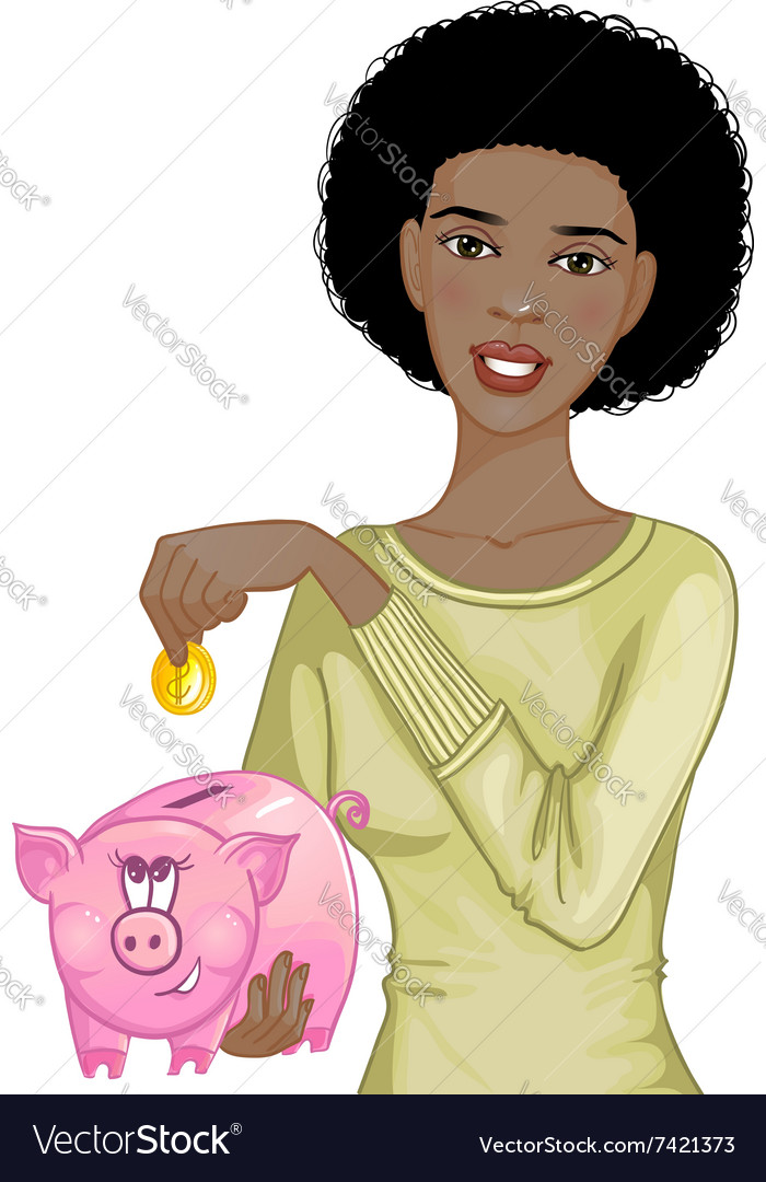 African american woman putting coin in piggy bank