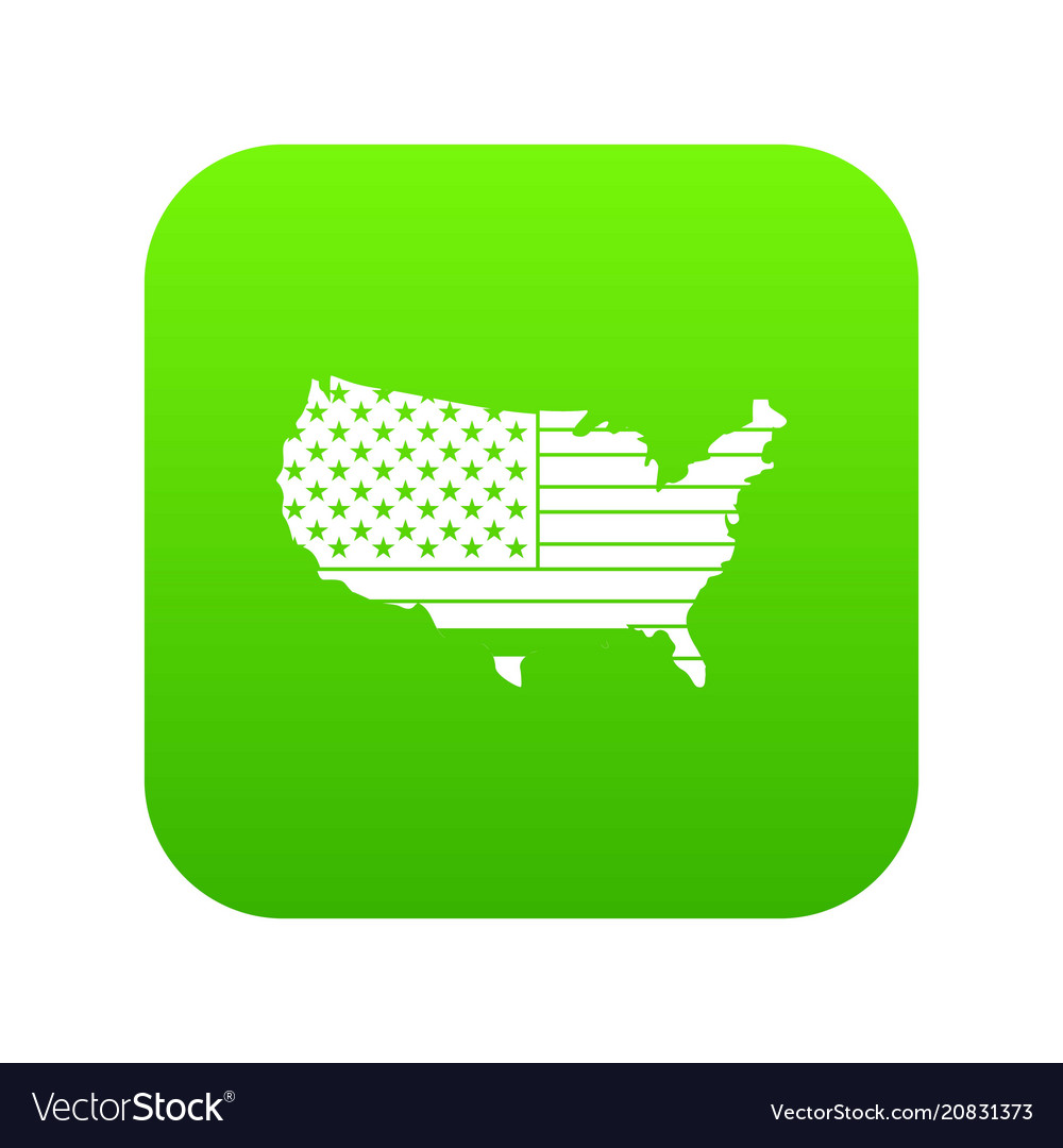 American map icon digital green