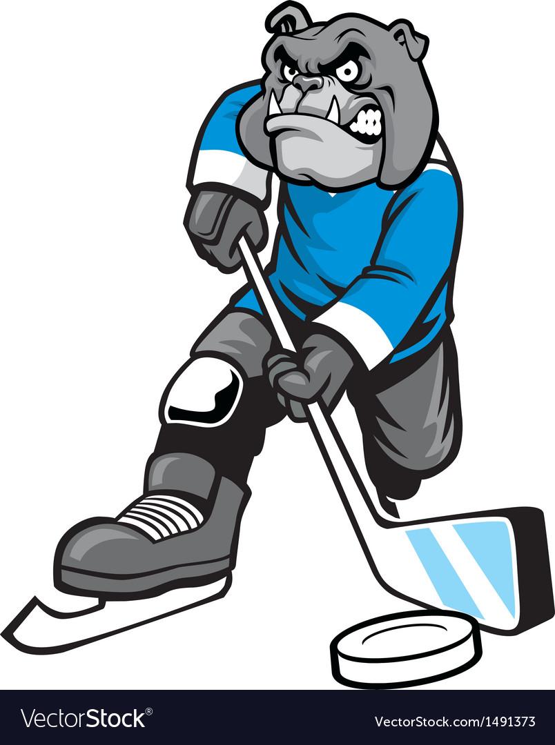 Bulldog playing ice hockey